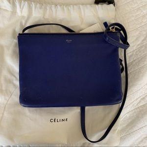 Celine Trio Cross Body Bag Electric Blue lambskin